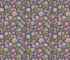 Dragonfly in the Garden_Dark fabric by groovity on Spoonflower - custom fabric