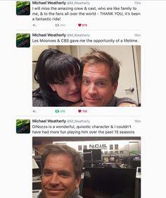 Michael Weatherly says goodbye. #NCIS