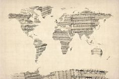 Map Of The World Map From Old Sheet Music Digital Art by Michael ...