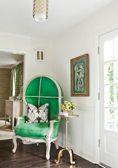 Houzz- Stern Turner Home  Photo by Erica George Dines   Interior design by Melanie Turner   Emerald Green Porter's Chair