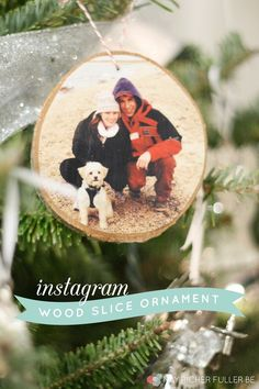 instagram wood slice ornament