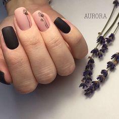 Аккуратный маникюр, Двухцветный маникюр, Дизайн ногтей с рисунком, Дизайн ногтей с цветами, Дизайн черных матовых ногтей, Идеи матового маникюра, Маникюр на квадратные ногти, Маникюр осень 2016