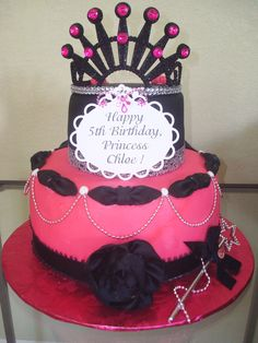 Chloe's 5th Birthday Diva Princess cake. Made on 8/2012. I made the cake, made the birthday message tag on the cake, and made the big black rose in front, too