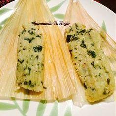 Tamales de espinaca con queso