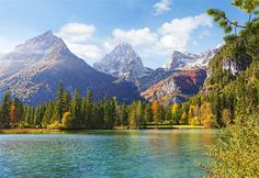 Mountain Peaks Over the Lake (Castorland 1500 Piece Jigsaw Puzzle) - have it assembled