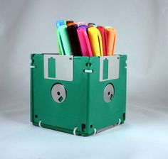 Looking to reuse old floppy disks? This pen holder is one fun and easy idea.