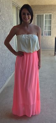 NEW Neon Pink Strapless Maxi Dress Size M Boutique Brand | eBay