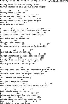 Love song: Nobody Does It Better-Carly Simon With Chords and Lyrics, For ukulele, guitar, banjo and other instruments. Easy Guitar Songs, Guitar Chords For Songs, Lyrics And Chords, Cool Lyrics, Love Songs Lyrics, Music Guitar, Playing Guitar, Acoustic Guitar, Guitar Tips