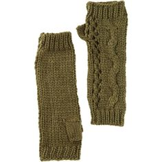 Nine West Cable Knit Open Weave Fingerless Gloves ($12) ❤ liked on Polyvore featuring accessories, gloves, loden, cable knit fingerless gloves, nine west gloves, nine west, cable knit gloves and fingerless gloves