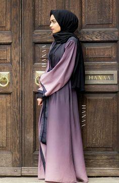 Mauve Ombré Silk Open Wrap Abaya