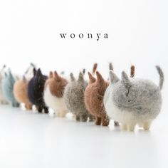 Woonya needle felted cats - handmade in Japan.
