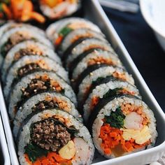 I could have this Korean rice roll everyday. nice picture shared by I could have this Korean rice roll everyday. nice picture shared by Randy Gish.hk to get featured Food Porn, K Food, Love Food, Asian Recipes, Healthy Recipes, Vegetarian Recipes, Healthy Food, Korean Street Food, South Korean Food