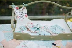 Have guests sign or write a message on a cloth square, then make a quilt out of it. Via 18 Totally Unique Memorial Service Guest Book Ideas