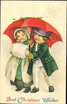 1923 Handsome Young Children in Christmas Best Publisher Wolf and Co Made in USA Christmas Theme Vintage Antique Postcard Postmarked