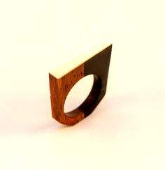 Gaboon Ebony, Burma Padauk and brass ring.