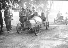 Race car and drivers from the 1913 French Grand Prix