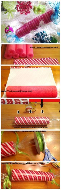 Peppermint candy sticks made with pool noodle Christmas wrapping paper and cellophane with ribbon