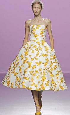 The 2nd Skin Co White And Yellow Floral Strapless Dress