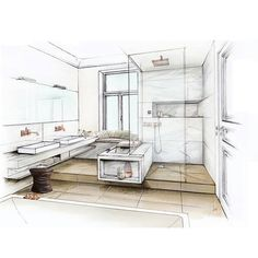 drawing method 2 point perspective, presentation drawing, interior of a bathroom, student/professional folio, pencil rendering, copic markers, digital rendering,