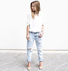 look destroyed jeans camisa scarpin