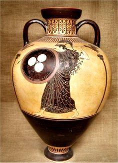 Greek Pottery :: Black figured pottery :: Black figured Panathenaic Amphora, 510 BC. Priced at $1899.00.