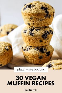 This roundup has every vegan muffin recipe you could ever need from classics like blueberry to fun savory options like sweet potato and herb Vegan Dessert Recipes, Vegan Breakfast Recipes, Gluten Free Recipes, Healthy Dinner Recipes, Healthy Snacks, Fruit Recipes, Vegan Dinners, Lunch Recipes, Vegetarian Recipes
