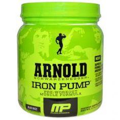Arnold, Iron Pump, Pre-Workout Muscle Formula, Blue Razz, 12.7 Oz (360 G), Sports 蛇