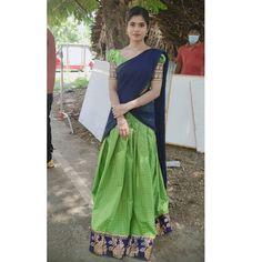 Half Saree, Lehenga, Blouse Designs, Sari, Gowns, Costumes, Lovers, Instagram, Fashion