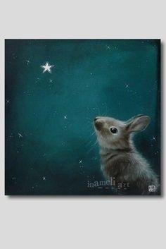Bunny art print Acrylic Painting llustration Animal Painting Wall Hanging Wall Decor Wall Art Magical gift