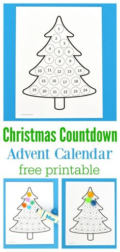 Free printable Christmas countdown advent calendar for kids. Use Do a Dot Markers, bingo markers, pom poms, stickers, or crayons to fill in each day. Christmas Countdown Crafts, Christmas Calendar, Christmas Crafts For Kids, Christmas Holidays, Christmas Tables, Nordic Christmas, Modern Christmas, Christmas Stockings, Christmas Gift Tags