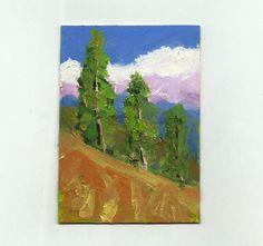 original art aceo 2.5 x3.5 small oil painting mini landscape