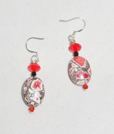 Red Turkey Turquoise Earrings w/ Czech and Swarovski Crystals Handmade