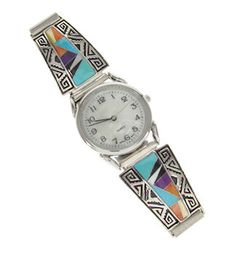 Multicolor Inlay Sterling Silver Southwest Watch GS57041