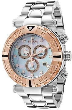 Invicta Men's Subaqua Chronograph Stainless Steel Mother of Pearl Dial Rose-Tone Bezel