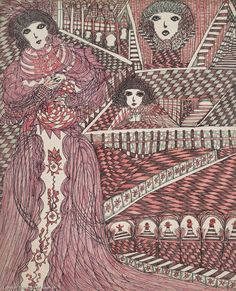 mediumistic drawing by british outsider artist madge gill