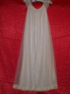 Vintage 50s  White Nylon Chiffon Gown by Gaymode