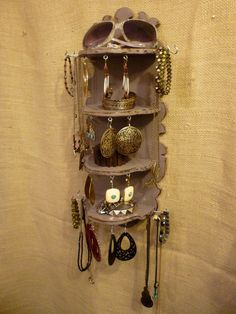 Upcycled Jewelry Organizing Display Purple Shelf by KelkoDesign, $58.00