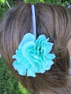 DIY fabric flower pom pom headband tutorial. Best part...all hot glue, no sewing.