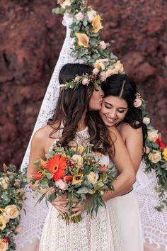 Colorful Bohemian Wedding Inspiration off the Coast of Santorini- bridal bouquet- floral design Lgbt Wedding, Boho Wedding, Wedding Flowers, Wedding Bride, Wedding Reception, Punjabi Wedding, Farm Wedding, Wedding Couples, Wedding Vintage
