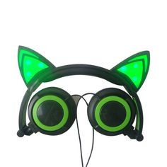 Foldable Flashing Glowing cat ear headphones cat earphone Gaming Headset LED light Earphones For PC Laptop Computer mobile Phone