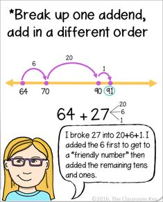 Strategies for teaching addition and subtraction using open number lines, a Common Core grade math skill Teaching Subtraction, Subtraction Strategies, Math Strategies, Teaching Math, Maths, Math Multiplication, Math Resources, Math Games, Math Activities