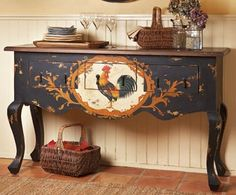 What a kick!  Wonder if I'm brazen enough to paint a rooster on my sideboard? (That is, when I get a side board!)  Decorating With Roosters For A French Country Look