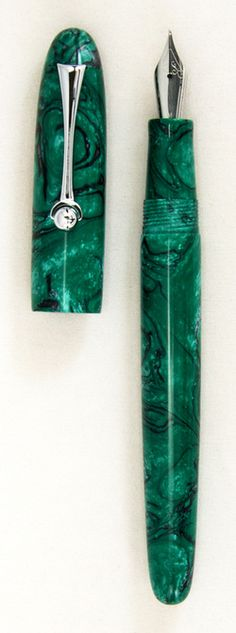 Green and Black resin fountain pen made by Lyle Ross.