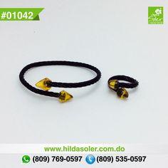 Colección HILMARKY !!!! Pulsera y anillo en cable de acero con ámbar  RD $1,300 pesos