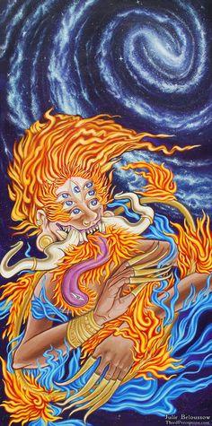Celestial Fire Deity by JulieBeloussow