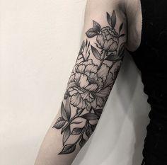 Blackwork peonies by Sebastian (@sebastian.tattoo) done at Chronic Ink Tattoo - Toronto, Canada