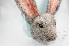 Bunny Head Needle Felted Taxidermy Rabbit / Hare by OnceAgainSam, $70.00