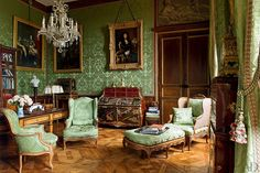 STUDY Remilleux's study contains a Bernard II van Risenburgh cartonnier with lacquer panels and a small 18th-century-style chair (piled with books) from the collection of Arturo Lopez-Willshaw.