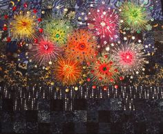Fireworks by Heather Evans of New Zealand, from Helen Marshall's gallery of student quilts