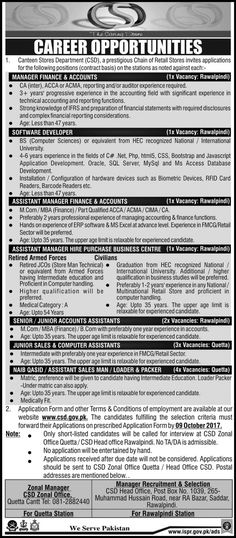 Canteen Stores Department Jobs 2017 In Rawalpindi And Quetta For Computer And Accounts Assistants http://www.jobsfanda.com/canteen-stores-department-jobs-2017-in-rawalpindi-and-quetta-for-computer-and-accounts-assistants/